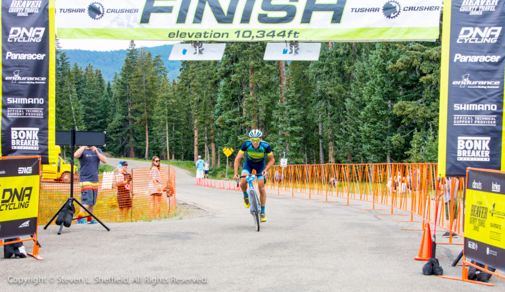 Jamey Driscoll crossing the line to take 4th in the 2017 Crusher in the Tushar. Photo by Steven Sheffield