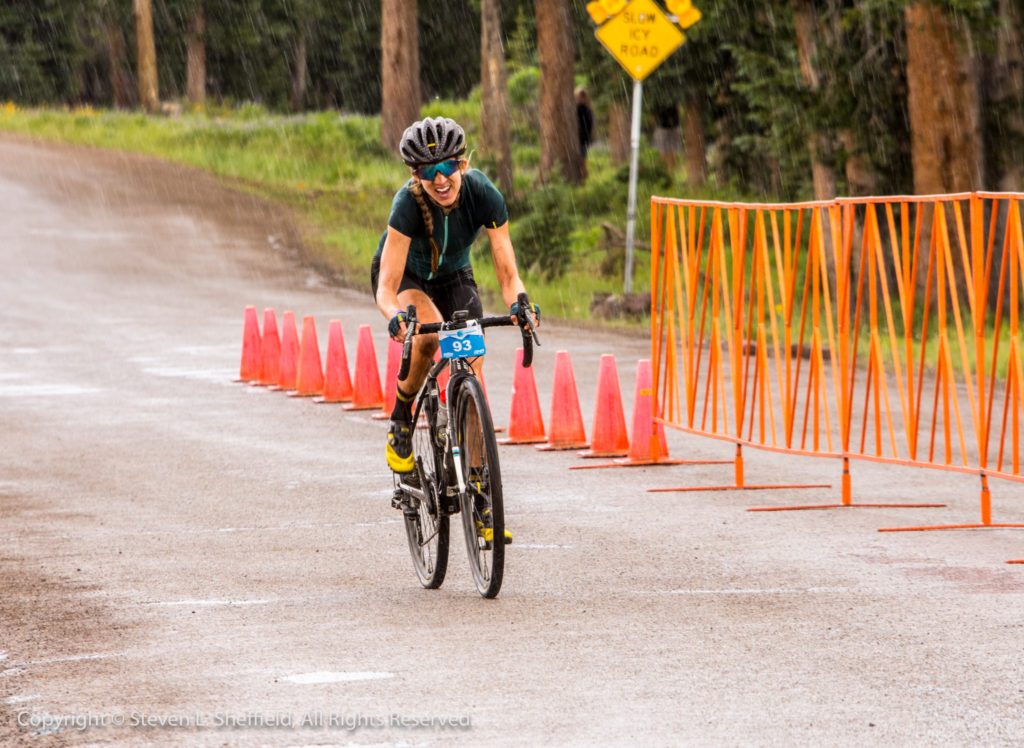 Janel Holcomb about to cross the line to win her first Crusher. Photo by Steven Sheffield