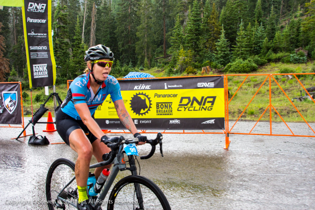 Breanne Nalder finishing third on the day in the 2017 Crusher in the Tushar. Photo by Steven Sheffield