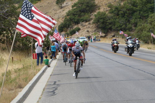 The Bountiful Bench was lined with American flags on stage 5 of the 2016 Tour of Utah. Photo by Dave Iltis