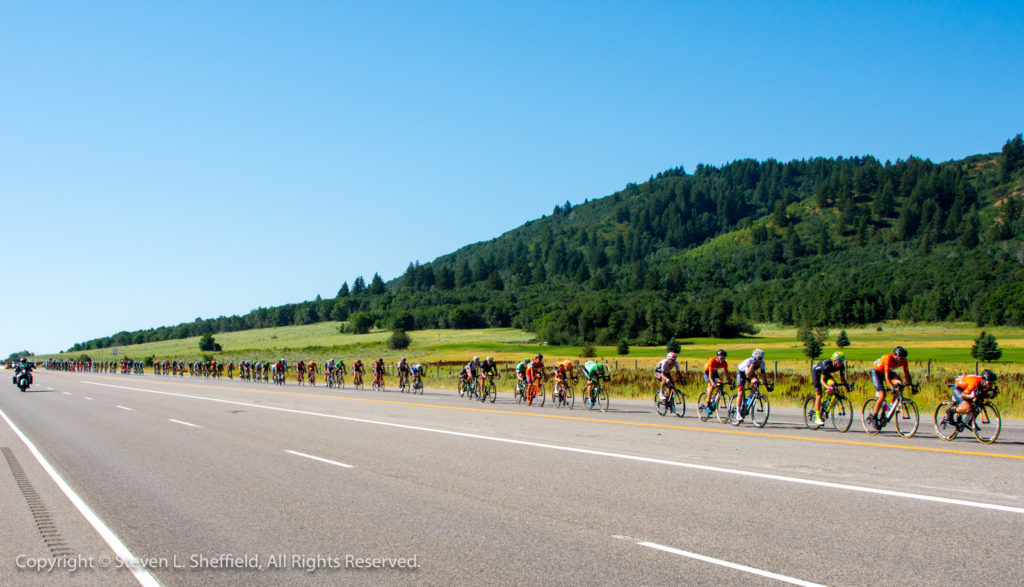 Single file on the rivet! 2017 Tour of Utah Stage 2 from Brigham City to Snowbasin. Photo by Steven Sheffield