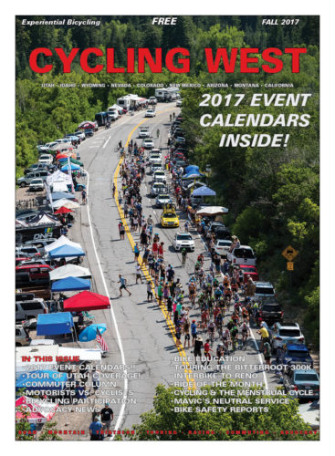 Cycling West Cycling Utah Fall 2017 Cover Photo: Tanner's Flat in Little Cottonwood Canyon is the place to be during the Queen Stage of the Tour of Utah. Photo by Jason Porter, jasonporterphoto.com