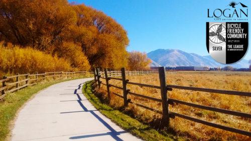 Logan, Utah was awarded a silver level Bike Friendly City Award in 2017. Photo courtesy Logan City.