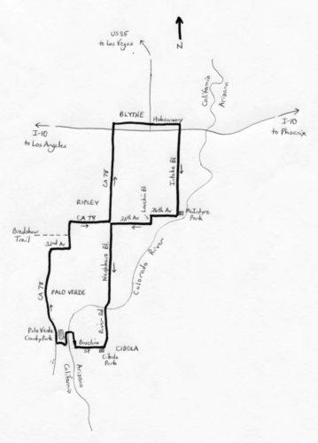 Mojave Desert Cibolla Bicycle ride map