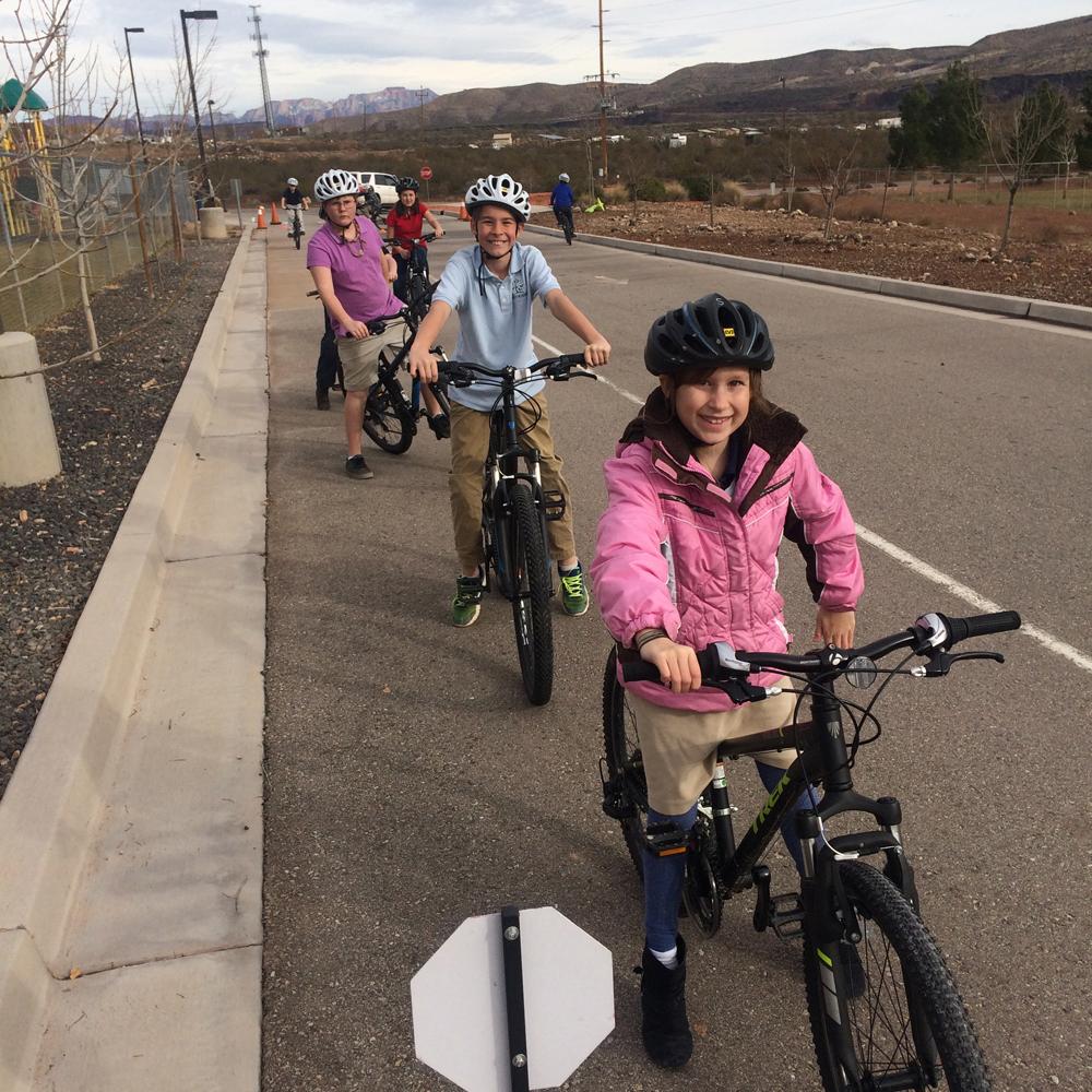 Young bike riders in bike education program