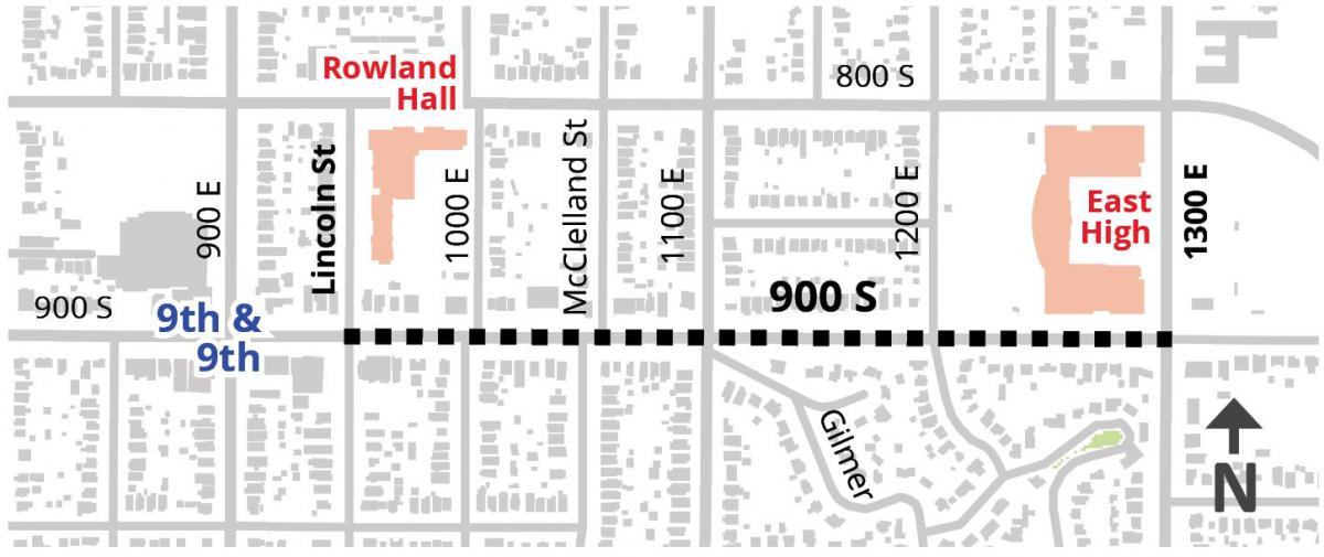 900 S will get a bike path as part of a 2018 reconstruction. Graphic from SLC Transportation