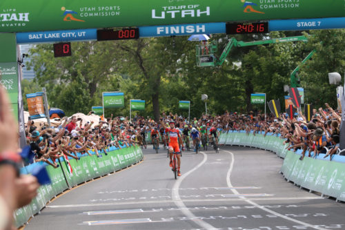 Marco Canola of Nippo-Vini Fantini winning stage 7 of the 2017 Tour of Utah. Photo by Dave Iltis