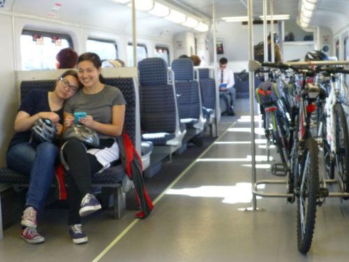 Bike commuters on train