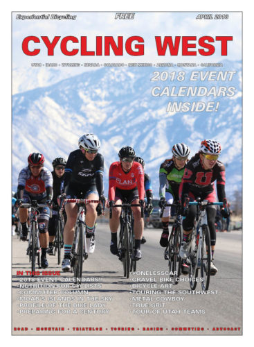 Cycling West April 2018 Cover Photo: The women's field at the Rocky Mountain Raceways Criterium on March 10, 2018 in West Valley City, Utah. The Wasatch Mountains loom in the distance. Photo by Dave Iltis