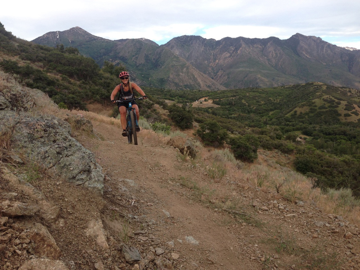 Jenny West riding the finished trail on the east end of the Three Falls Trail above Fort Canyon in Alpine, Utah. Photo by Don West