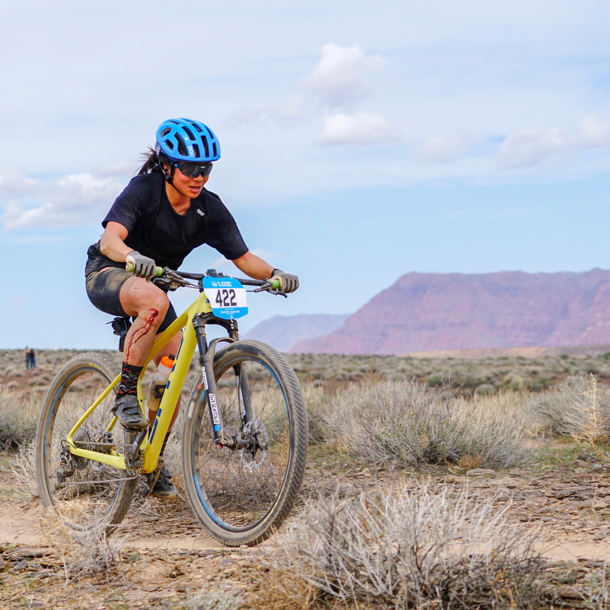 Evelyn Dong overcame a crash to take the win in the women's pro division of the Red Rock Desert Rampage Intermountain Cup on March 24, 2018. Photo by Matt Ohran