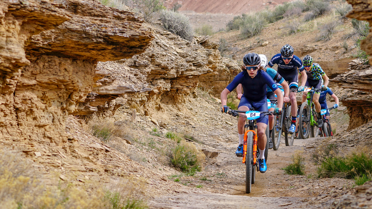 Zach Calton leads the pro men's division of the Red Rock Desert Rampage Intermountain Cup on March 24, 2018. He went on to win the race over Alex Grant (in green). Photo by Matt Ohran