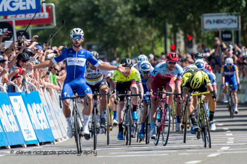 Fernando Gaviria (Quick-Step Floors)  celebrates the wind on Men's Stage Five, Stockton to Elk Grove, 2018 Amgen Tour of California cycling race (Photo by Dave Richards, daverphoto.com)