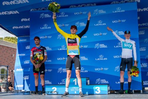 Stage winners podium L-R: Patrick Bevin (BMC Racing), Tejay Van Garderen (BMC Racing) & Tao Geoghegan Hart (Team Sky). Men's Stage Four, Individual Time Trial, Morgan Hill, 2018 Amgen Tour of California cycling race (Photo by Dave Richards, daverphoto.com)