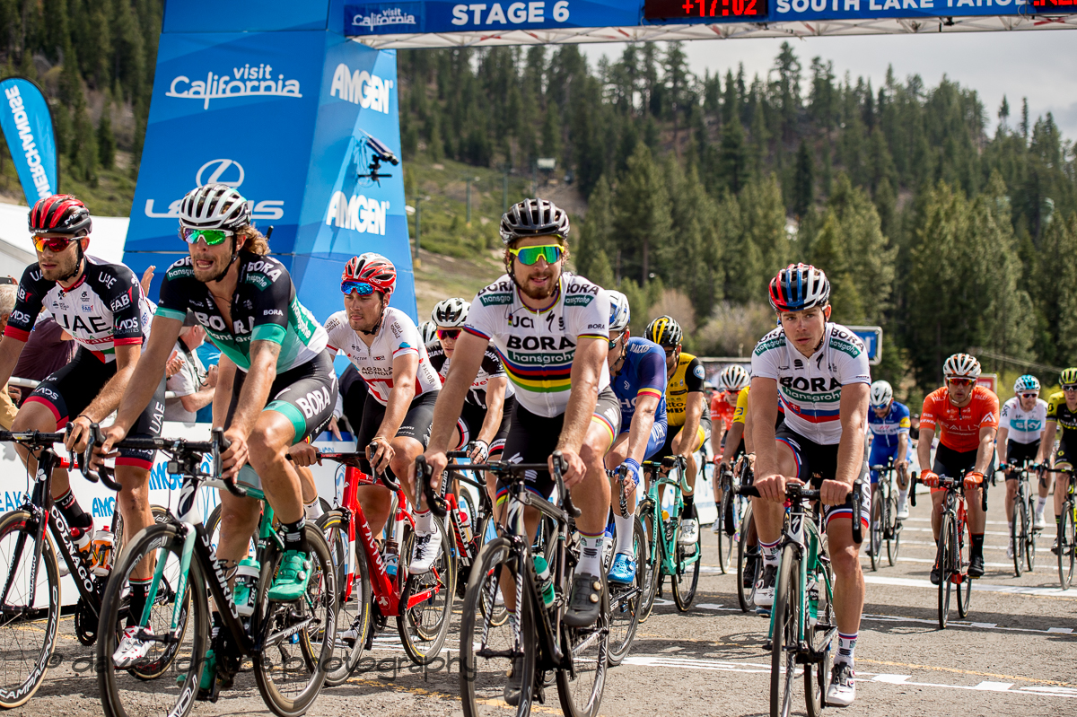 Egan Bernal (Team Sky) points to his team name acknowledge the support they gave hiim to win Men's Stage Six, Folsom to South Lake Tahoe, 2018 Amgen Tour of California cycling race (Photo by Dave Richards, daverphoto.com)