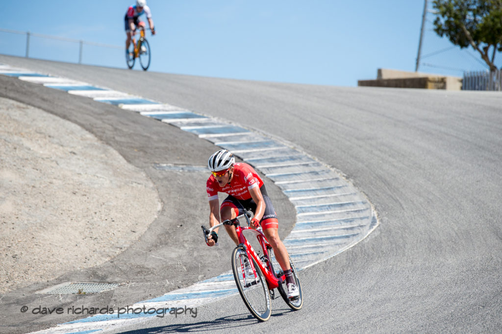 Toms Skujins (Trek Segafredo) pushing hard at the bottom of the Corkscrew turn on his way to win Men's Stage Three from King City to Laguna Seca Race Track, 2018 Amgen Tour of California cycling race (Photo by Dave Richards, daverphoto.com)