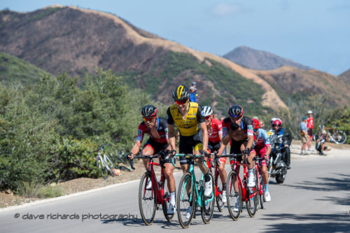 A small group shares the pain on the final supersteep ramps of the Gibralter Road climb. Men's Stage Two from Ventura to Gibraltar Road, 2018 Amgen Tour of California cycling race (Photo by Dave Richards, daverphoto.com)