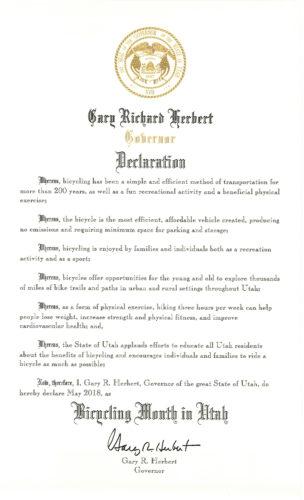 Gov. Herbert declared May as Bike Month in Utah!