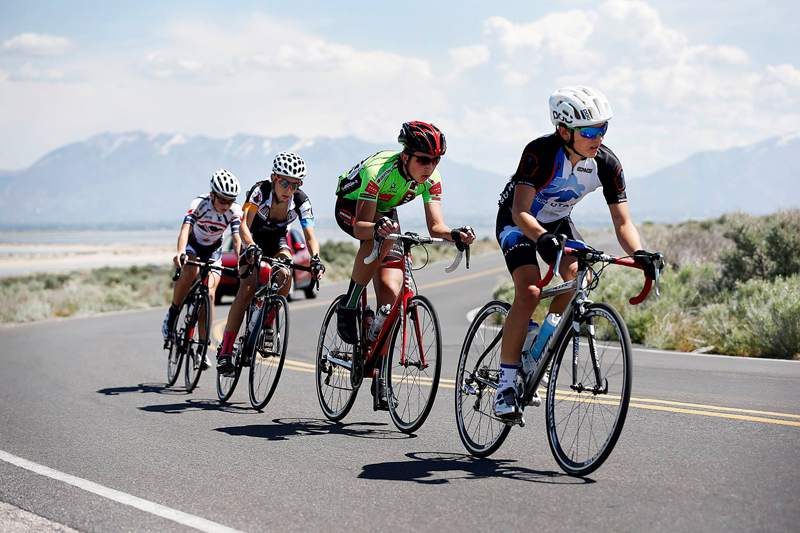 Teenage junior bicycle racers at Antelope Island Utah