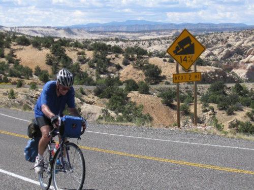 Bicycle rider Calf Creek in Southern Utah