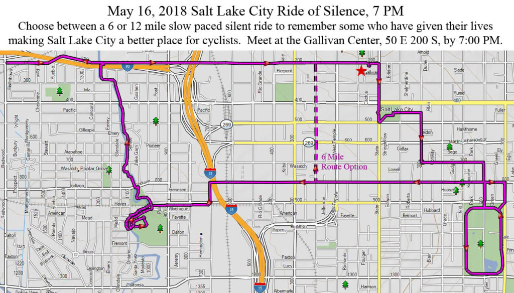 The 2018 Salt Lake City Ride of Silence map. The ride will have 2 options: a 6 and 12 mile route.