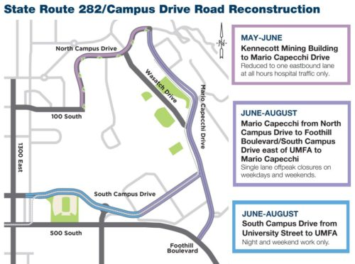 UDOT will be repaving the roads around the University of Utah Campus in 2018. Graphic from the University of Utah repaving page: https://community.utah.edu/community/repaving-around-u/