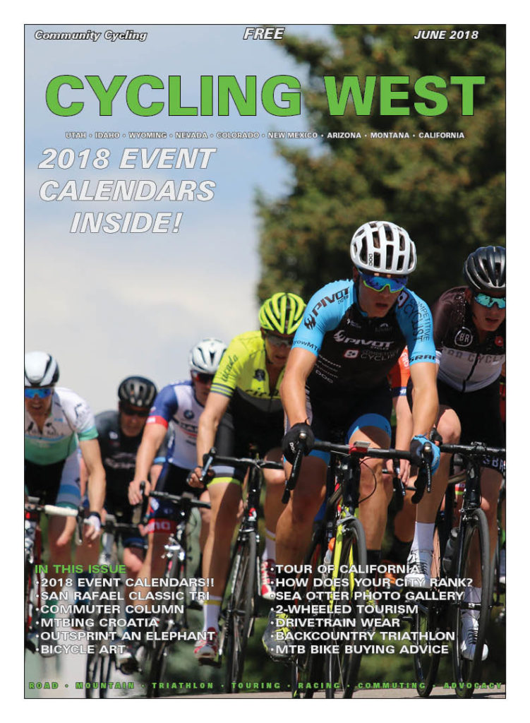 Cycling West June 2018 Cover Photo: The Category 3 field rounds a turn in the Sugarhouse Criterium on May 26, 2018 in Salt Lake City, Utah. Photo by Dave Iltis, see more at gallery.cyclingutah.com