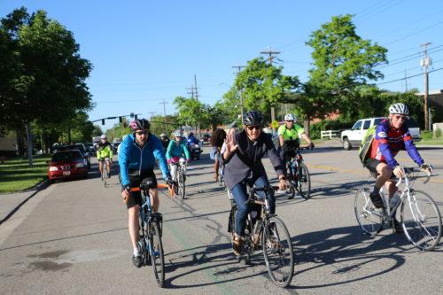 On the Salt Lake City Mayor's Bike to Work Day, May 17, 2018. Photo by Dave Iltis, cyclingutah.com