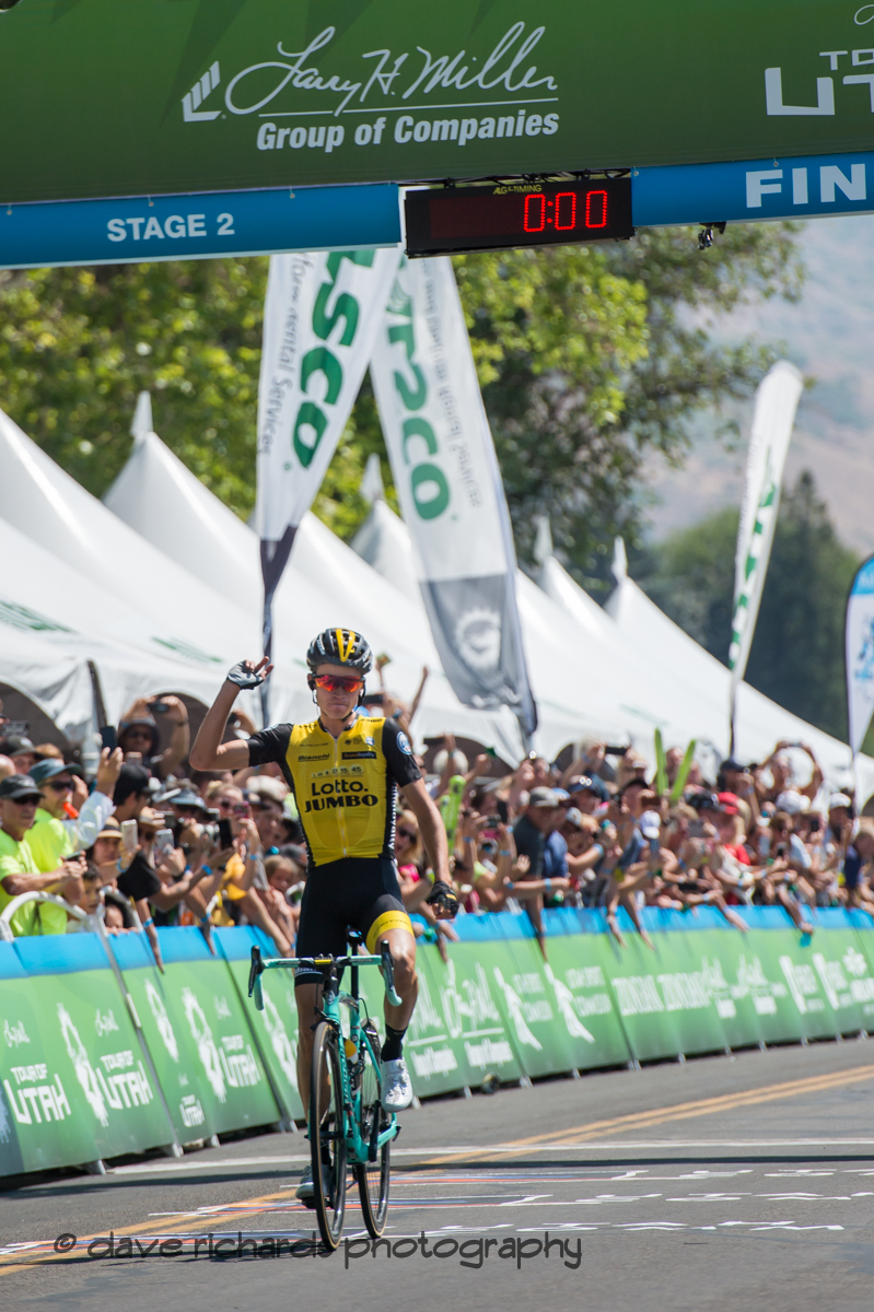 TV cameras focus on Sepp Kuss (Team Lotto NL_Jumbo) while neutral support Mavic is ready to help out should Sepp have a flat tire. Stage 2, 2018 LHM Tour of Utah cycling race (Photo by Dave Richards, daverphoto.com)