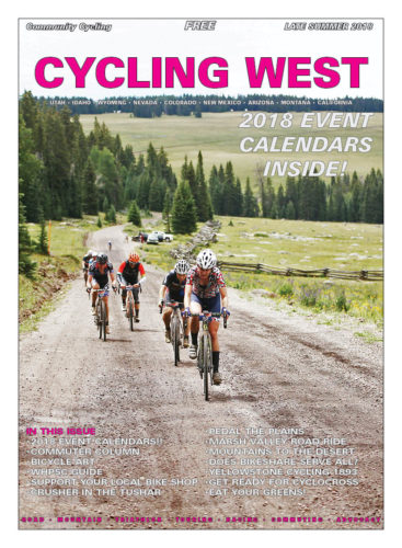 Cycling West Late Summer 2018 Cover Photo:  Lauren De Crescenzo (DNA Cycling) leads a group of riders at the base of the Col de Crush. She went on to win the women's elite race by almost 10 minutes.  Photo by Cathy Fegan-Kim, see more at cottonsoxphotography.net