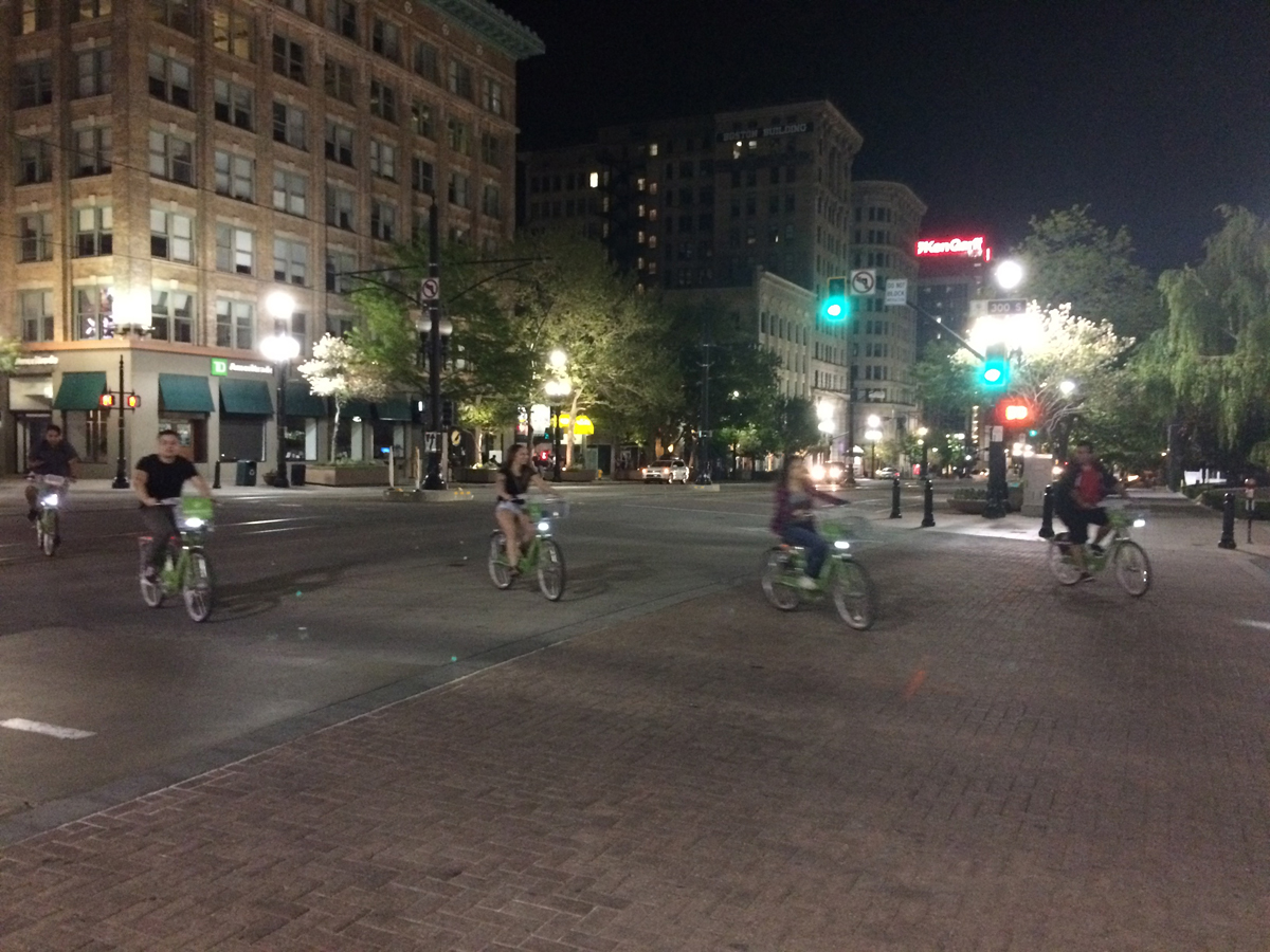 GreenBike Bikeshare in Salt Lake City has changed downtown by making it easier to get around without a car. Photo by Dave Iltis