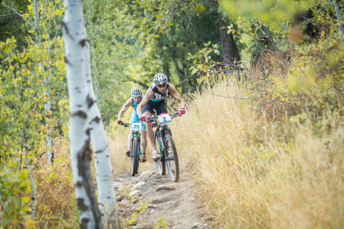 XTERRA is coming to Ogden, Utah on September 14-16, 2018. XTERRA Elites Josiah Middaugh from the U.S. and Bradley Weiss from South Africa charge down the East Fork downhill near Snowbasin Resort at the 2017 XTERRA Pan American Championship triathlon. Photo by Jesse Peters