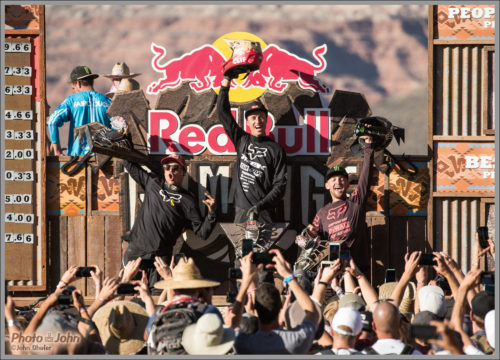 2018 Red Bull Rampage Podium: Left to right: 2nd place Andreu Lacondeguy, winner Brett Rheeder and 3rd place, Utah's Ethan Nell. October 26, 2018. Photo by Photo John, photojohn.net