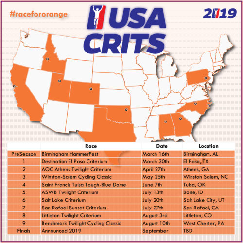 USA Crits 2019 schedule. Graphic courtesy USA Crits
