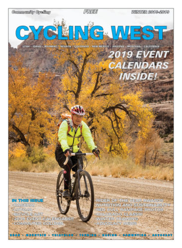 Cycling West Winter 2018-2019 Cover Photo: Howard Shafer gravel biking through Buckhorn Wash in the San Rafael Swell. Photo by John Shafer/Photo-John.net