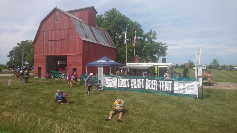 The Iowa Craft beer tent was one of many on the route. RAGBRAI 2018. Photo by John Monroe