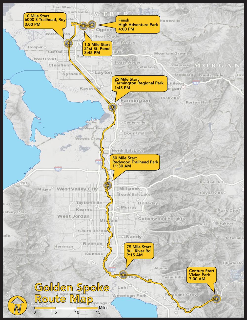 Golden Spoke Route Map
