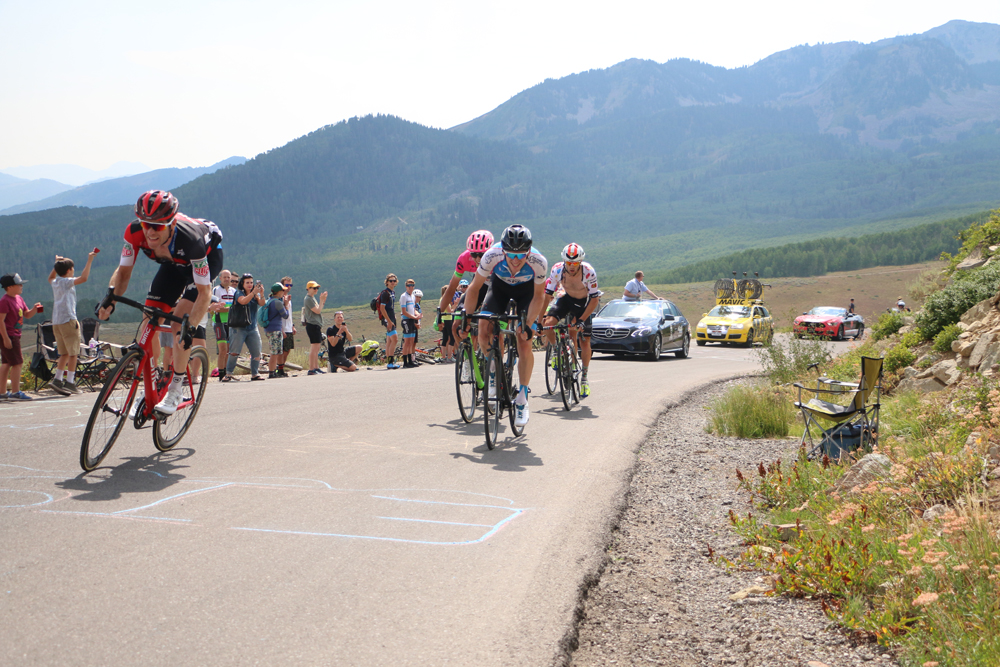 14 of the top teams in the world will race the 2019 Tour of Utah. Here, riders crest Empire Pass in Stage 6 of the 2018 Tour of Utah. Park City, Utah. Photo by Dave Iltis