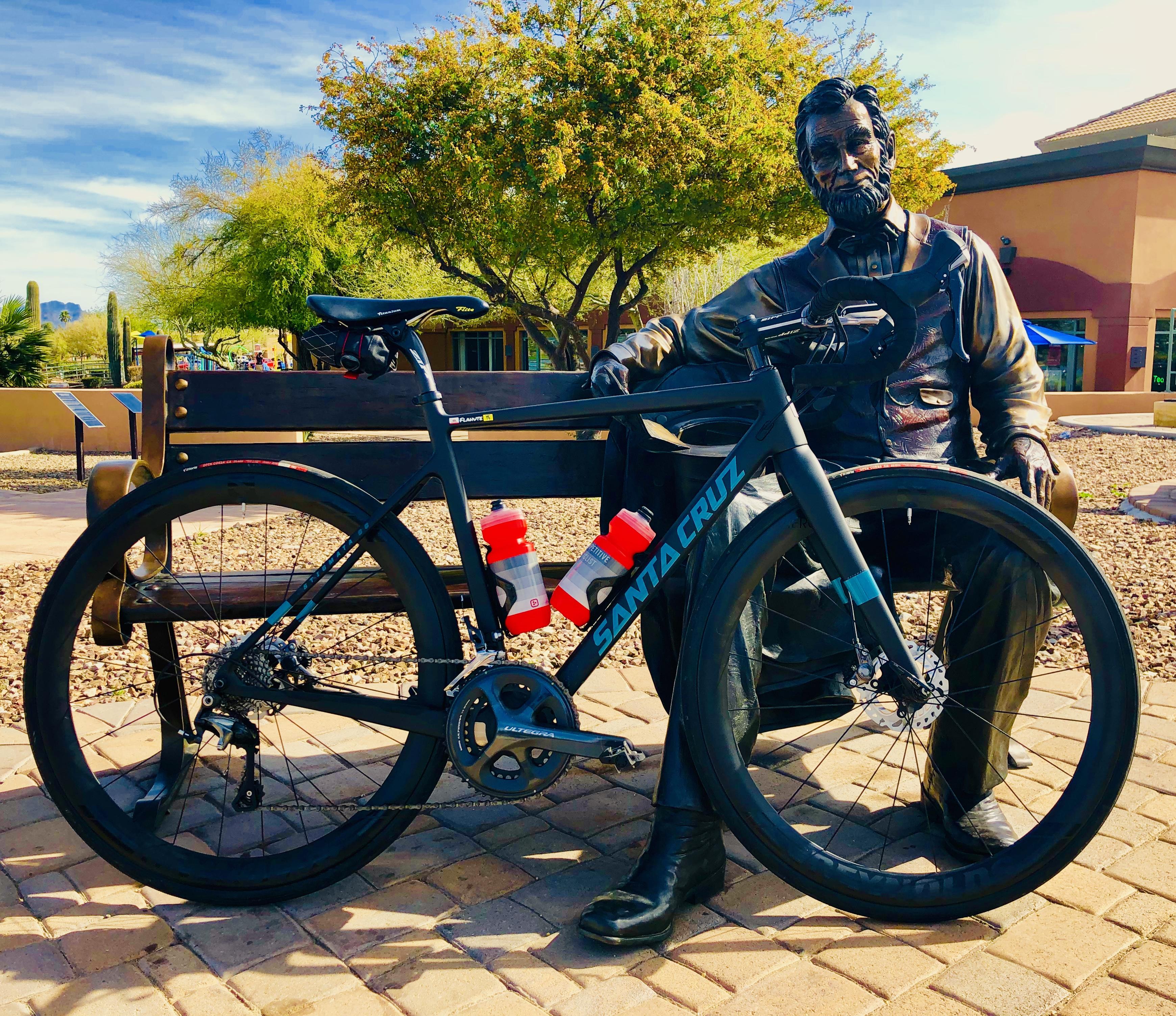 Honest Abe keeping an eye on my Santa Cruz Stigmata. Fountain Park, Fountain Hills, Arizona.