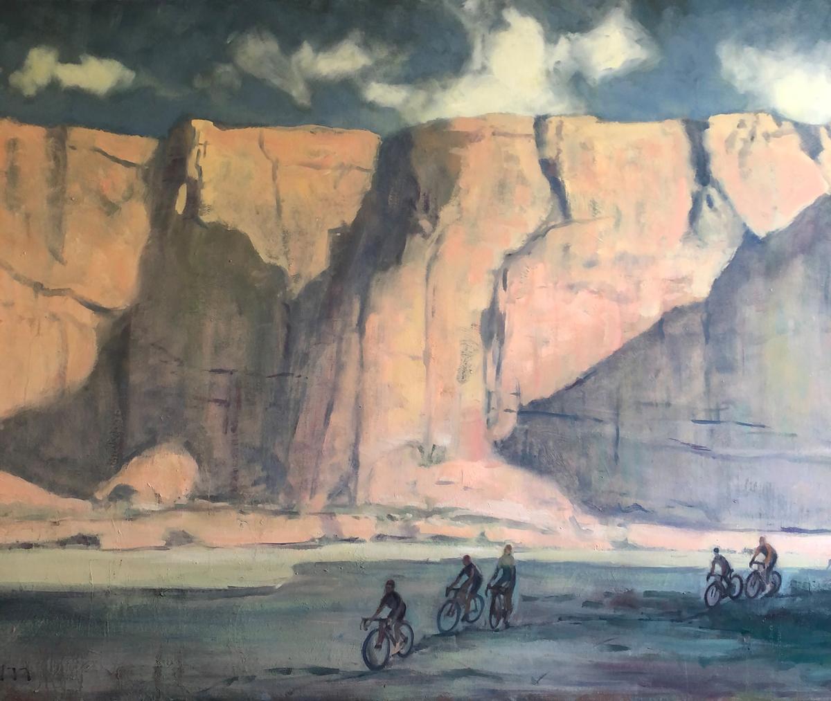 "Artist: Trenton Higley,Title: Desert Riders,Medium: Oil on canvas,Size: 36"" x 36"""