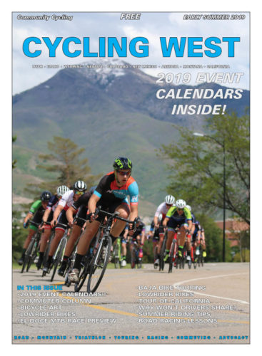 Cycling West Early Summer 2019 Cover Photo: The Sugarhouse Criterium is a mainstay for road racing in Utah. This year's event saw over 400 racers. Here, the category 3 field dives into a corner. Photo by Dave Iltis
