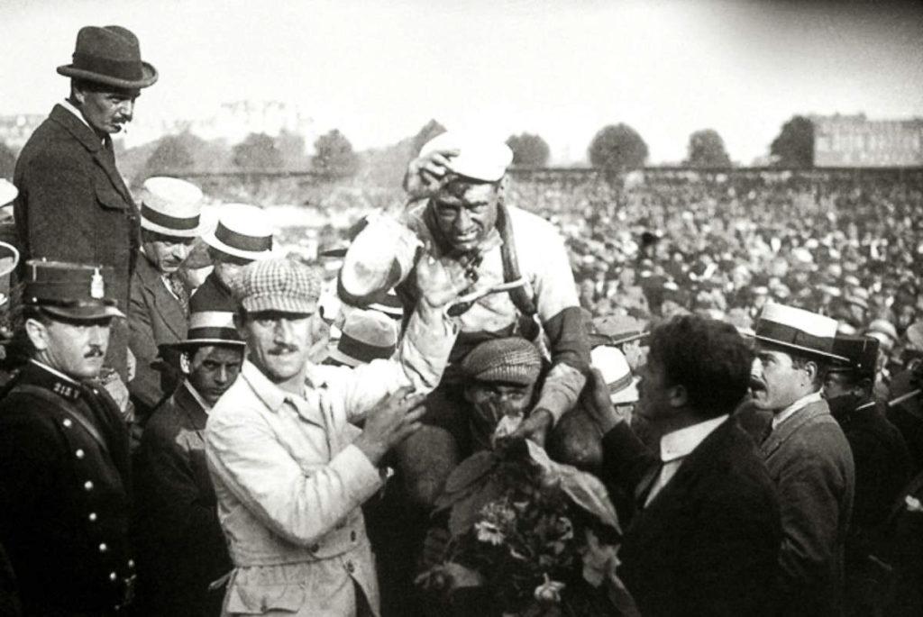 Eugène Christophe sporting the first maillot jaune, 1919 Tour de France. PC: Unknown, Public Domain