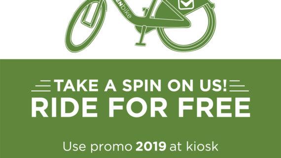 GreenBike Bike Share Free to Ride on Saturday, June 22, 2019