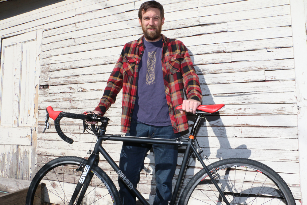 Matthew Nelson shows off one of his new SaltAir bicycles.