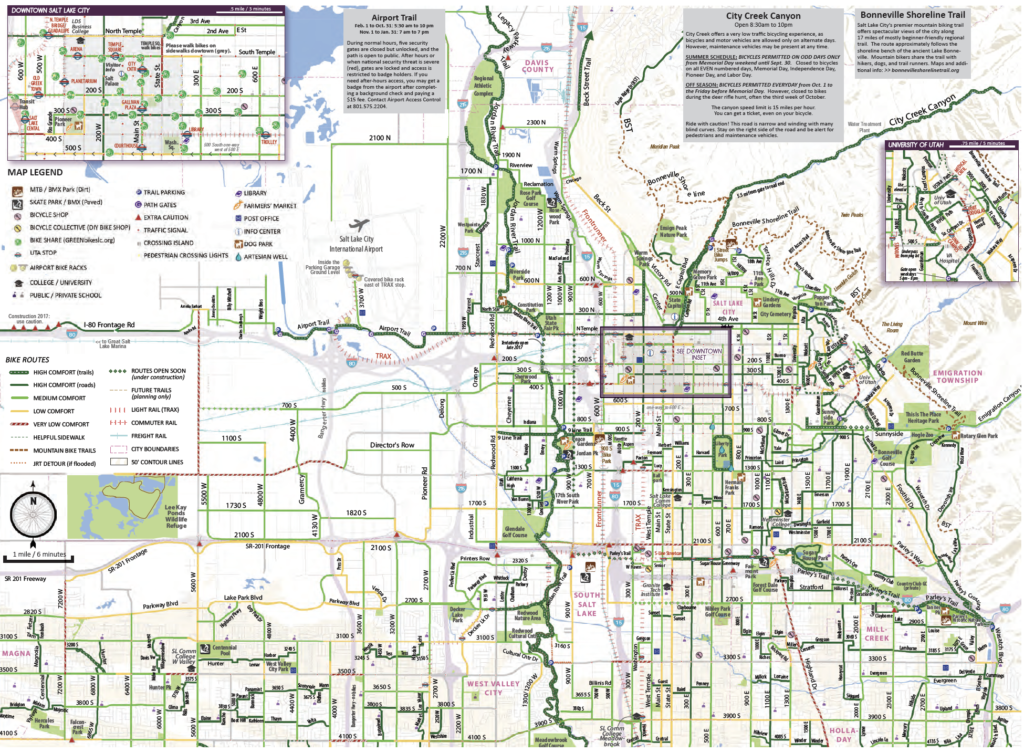 Salt Lake City bike map graphic from the 2017 map.