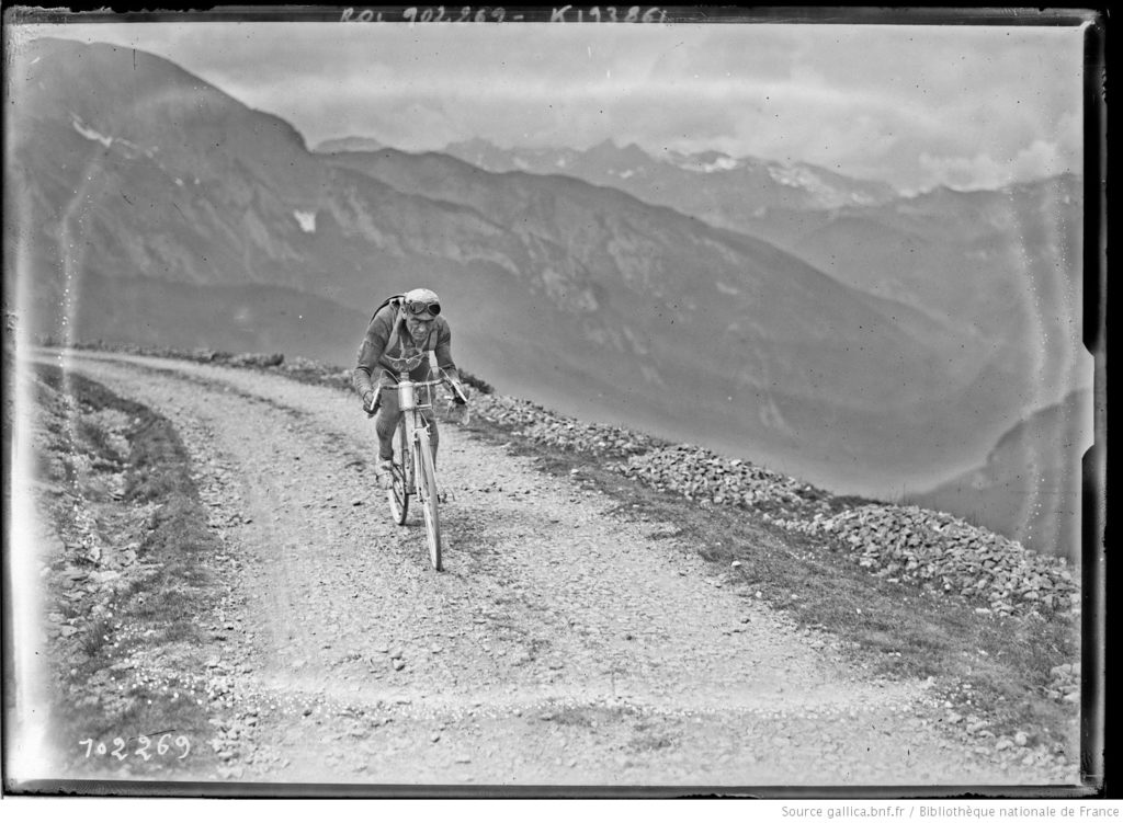 Eugène Christophe, July 1, 1925 on the montée d'Aubisque in the Tour de France. This was his last Tour at age 40. He finished 18th. Photo by Agence Rol, Source gallica.bnf.fr - National Library of France.