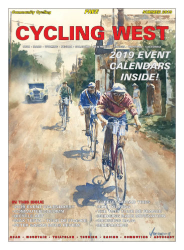 Cycling West Summer 2019 Issue Cover Art: 1921 Tour de France. Watercolor by Richard Vroom. Follow Richard on Instagram: @richvroom