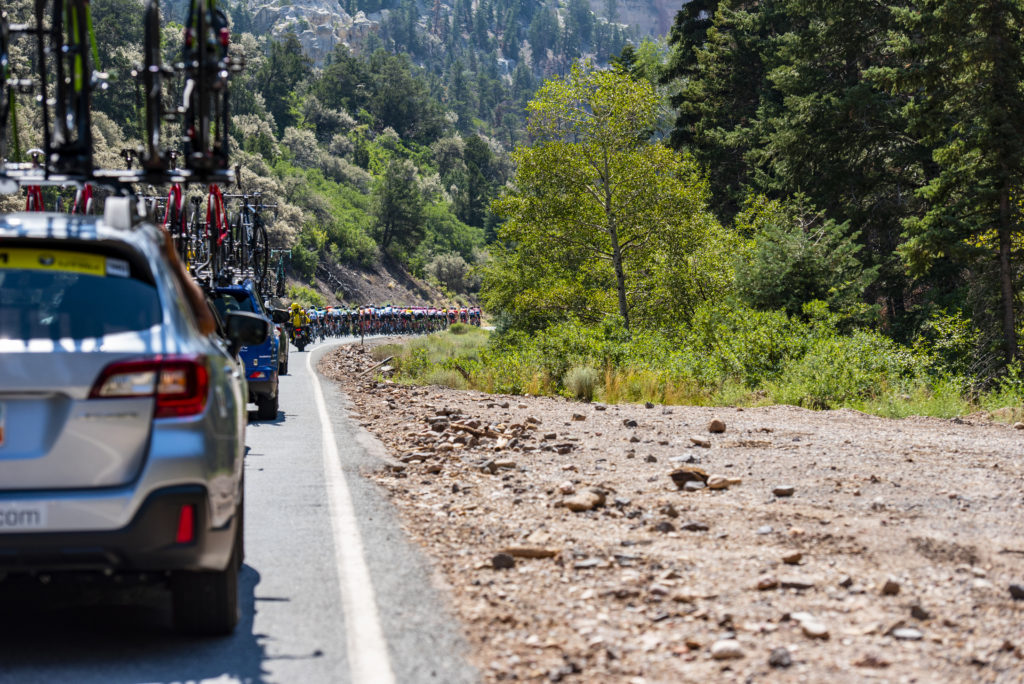 A view from the rear of the peloton. Stage 1, 2018 Tour of Utah. Photo by Steven L. Sheffield