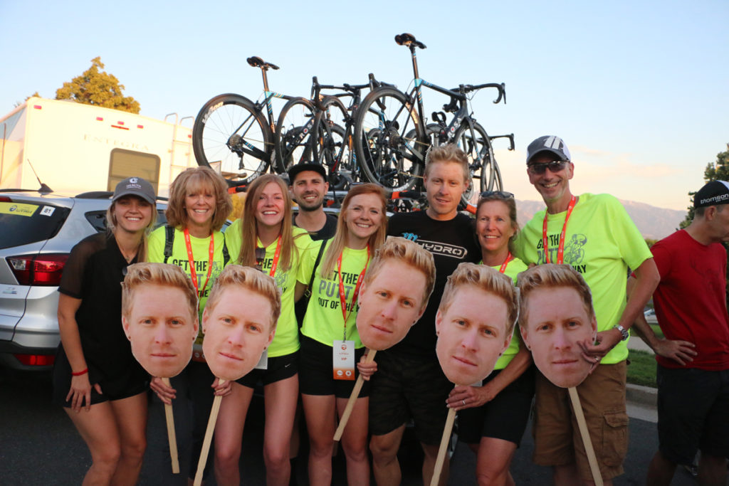 Tanner Putt Fan Club with Tanner himself. Stage 4 of the 2019 Tour of Utah. Photo by Dave Iltis