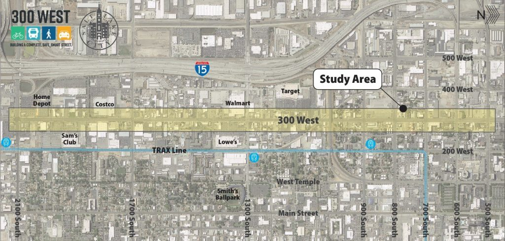 300 West between 500 S and 2100 S in Salt Lake City will be reconstructed in 2021-22 using Funding Our Future bond money. Project Graphic from Salt Lake City Transportation